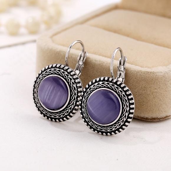 thriftdimensi0n Jewelry - *MERIDIAN* Silver x Purple Fashion Hook Earrings